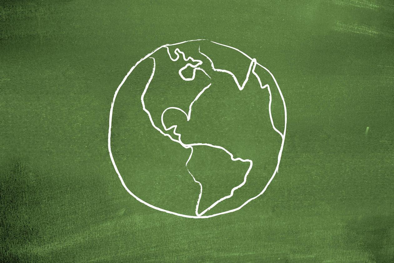 Earth on blackboard, stock photo