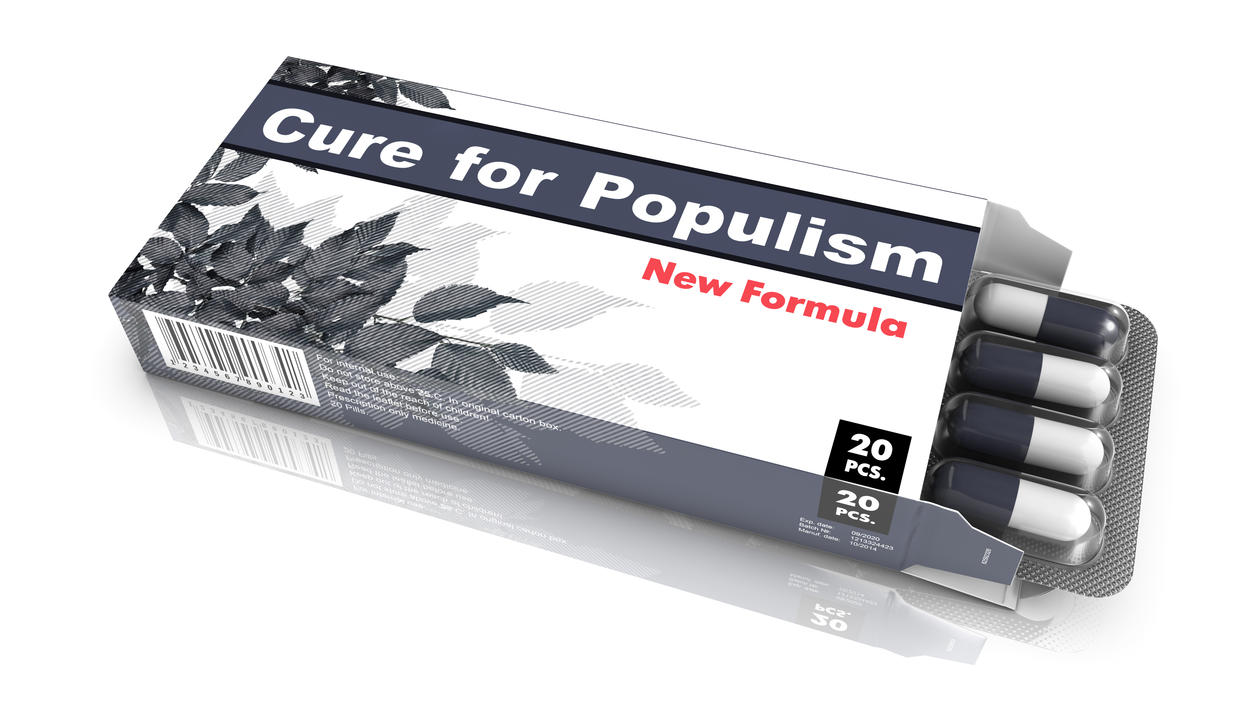 illustration of pill box with the text cure for populism