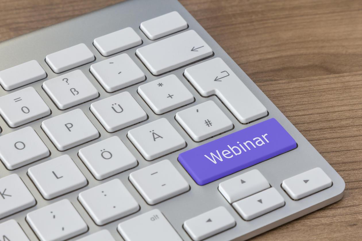 Keyboard - word Webinar written on one key