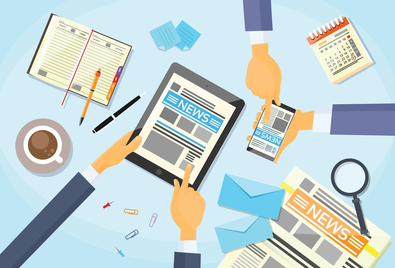 Forretningsfolk utveksler ulike medieinformasjoner over en kaffekopp, illustrasjon brukt i sak om mediemangfold.
