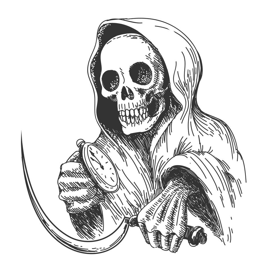 Tegning av mannen med ljåen (døden)