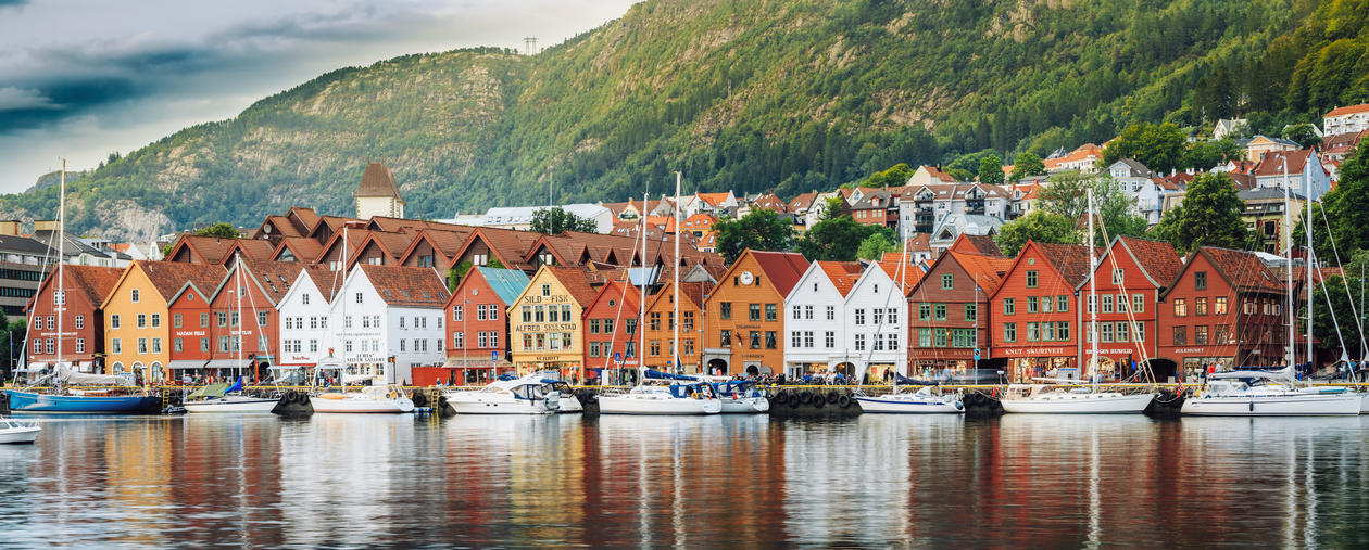 The wharf area in the city of Bergen, Norway