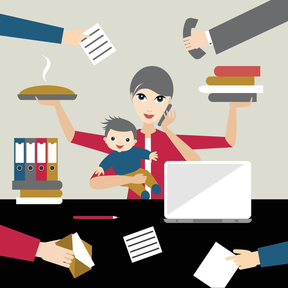 Illustration of working mother