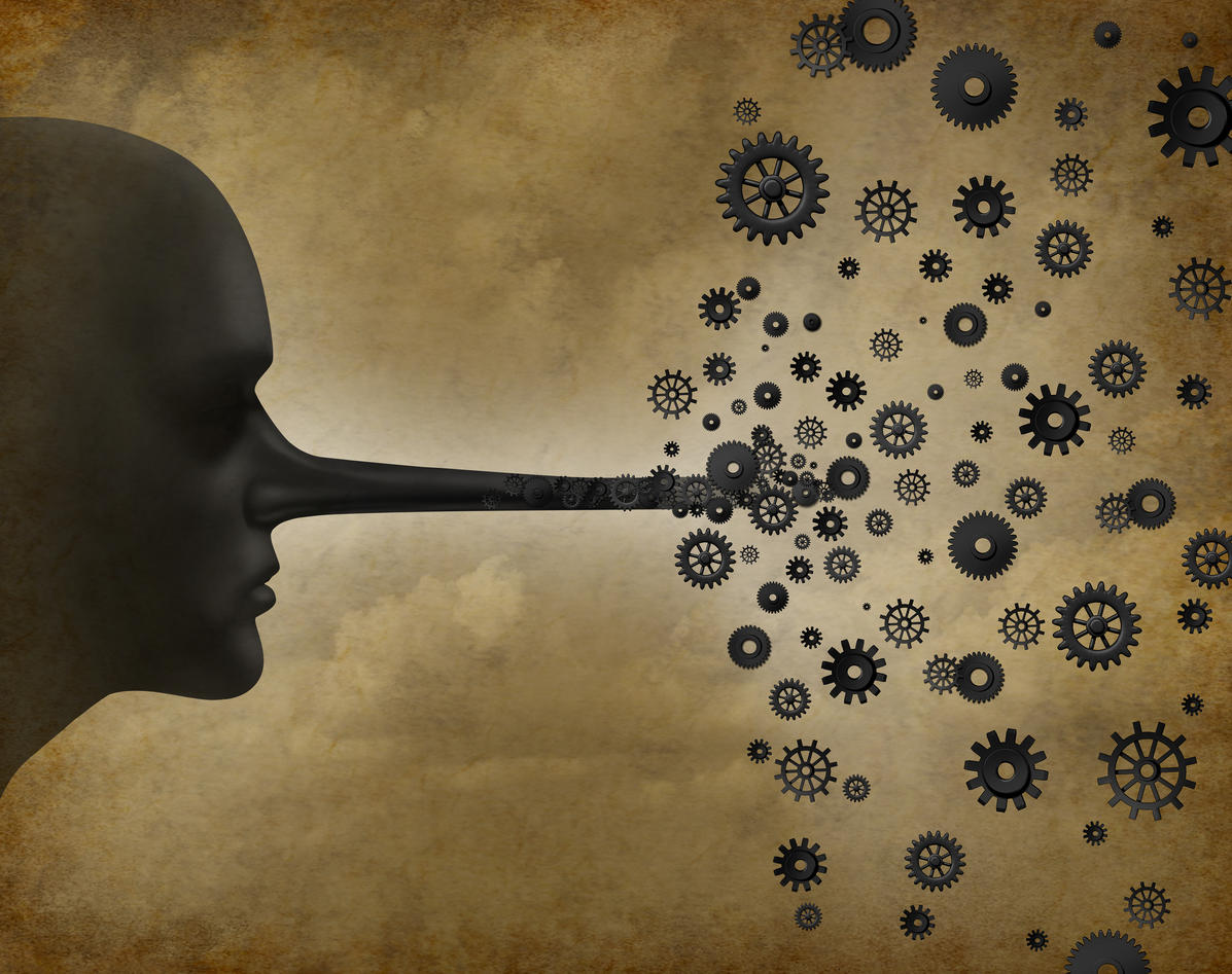 Picture of long nose transforming into gears and cog wheels as a metaphor for dishonest research.