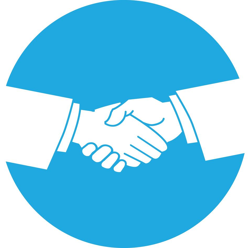 Graphic illustration of a handshake.