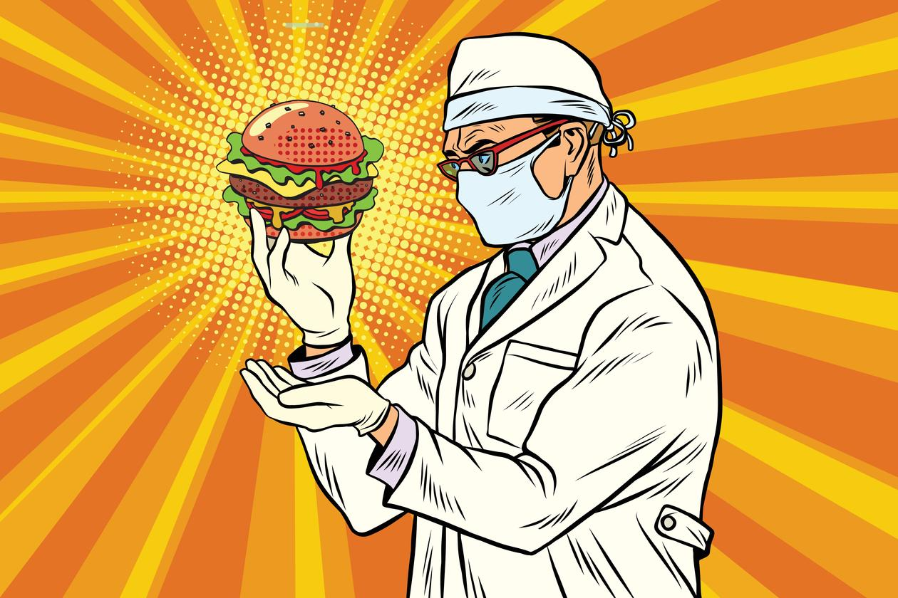 Scientist nutritionist and Burger fast food.