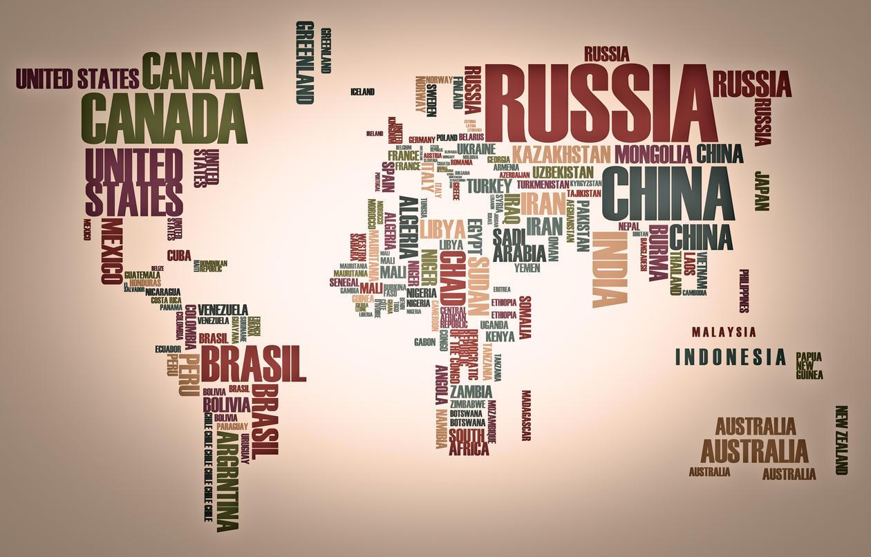 kart laget av navn på land