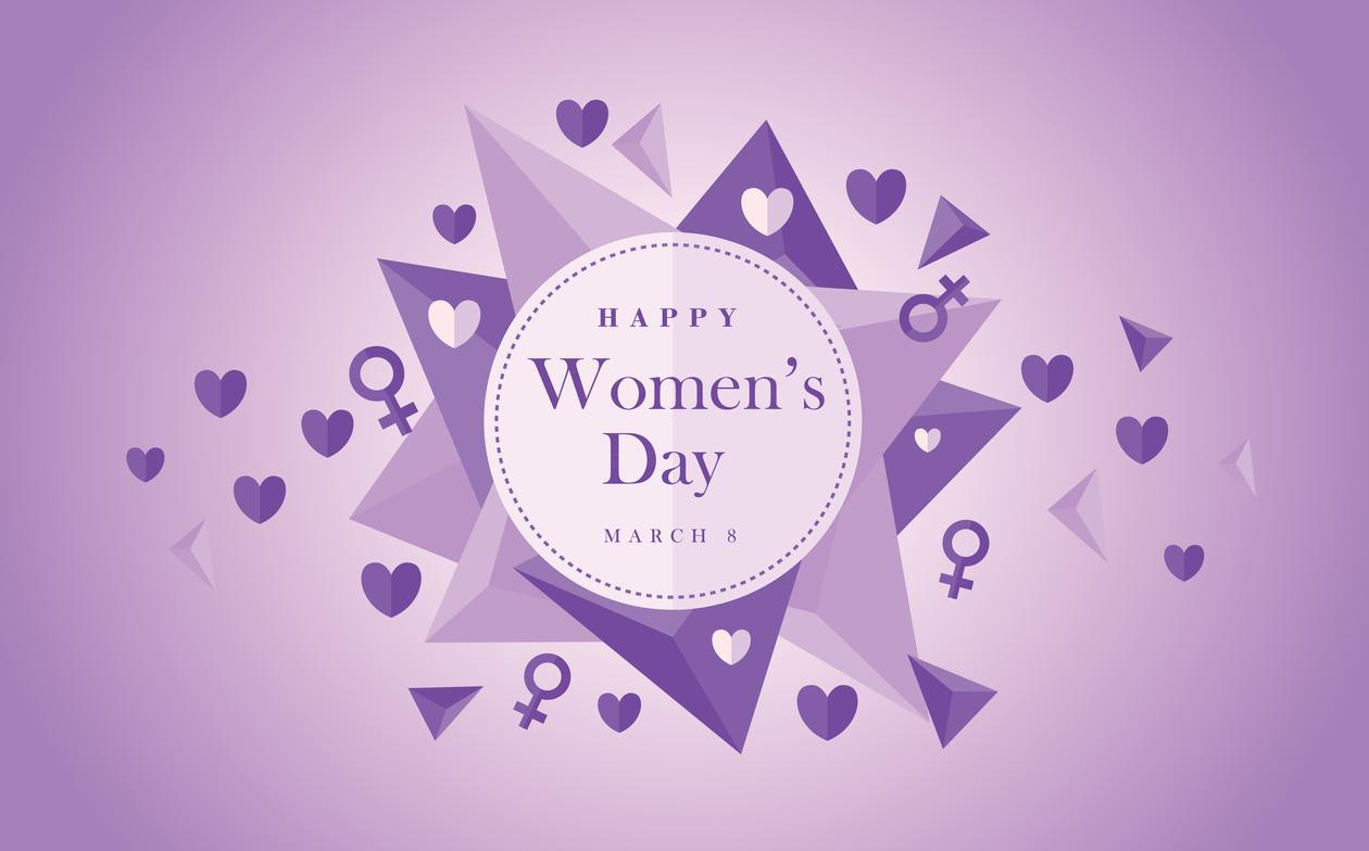"Sirkel med  teksten ""Happy Women's day"""