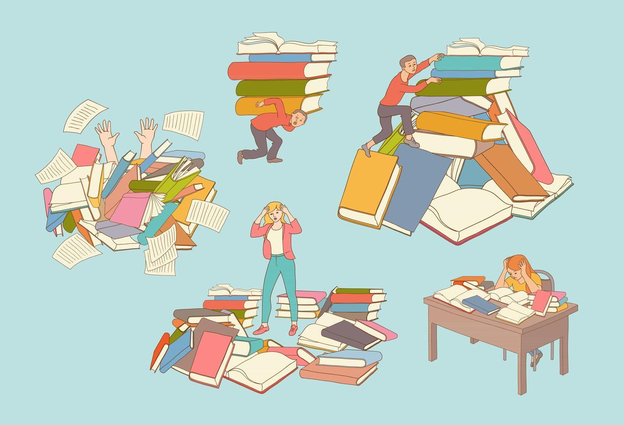 Person med mange bøker