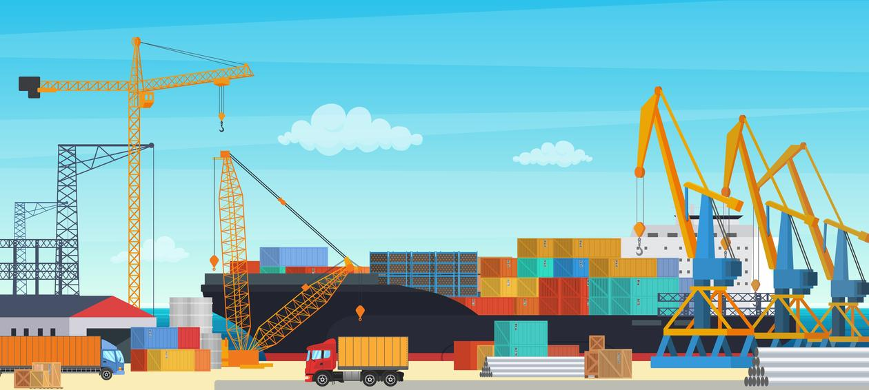 illustration with ships and cranes and trucks