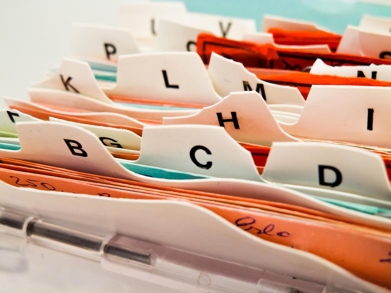 Arkiv, indeks, alfabetisk