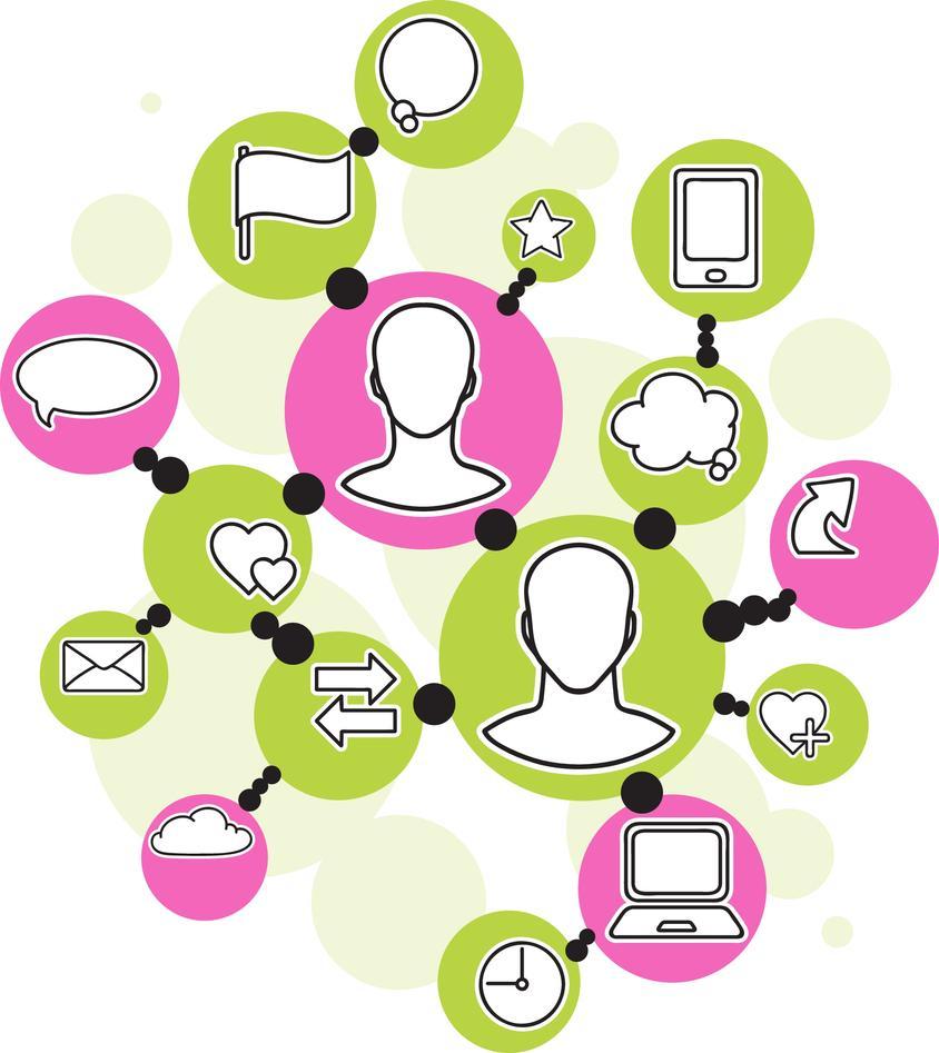 ikoner for sosiale medier og kommunikasjon i globalt nettverk