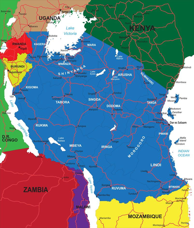 Map over the African countries: Malawi, Uganda and Kenya