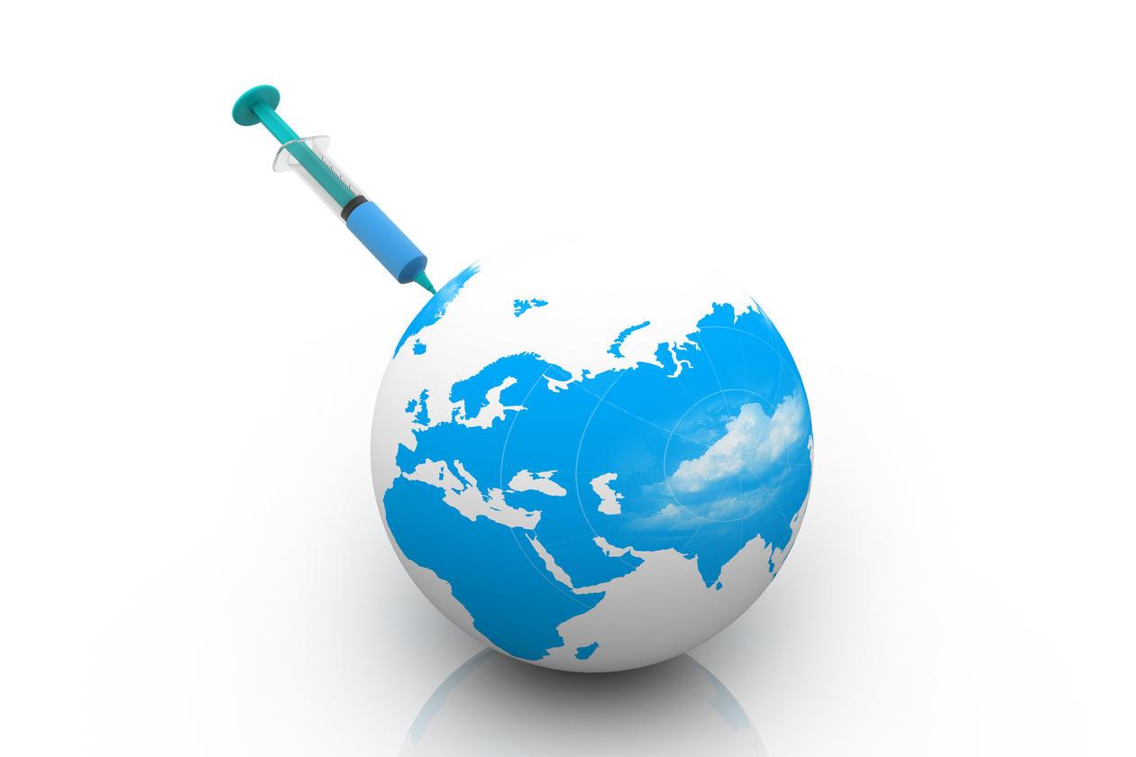 Illustration of globe and syringe