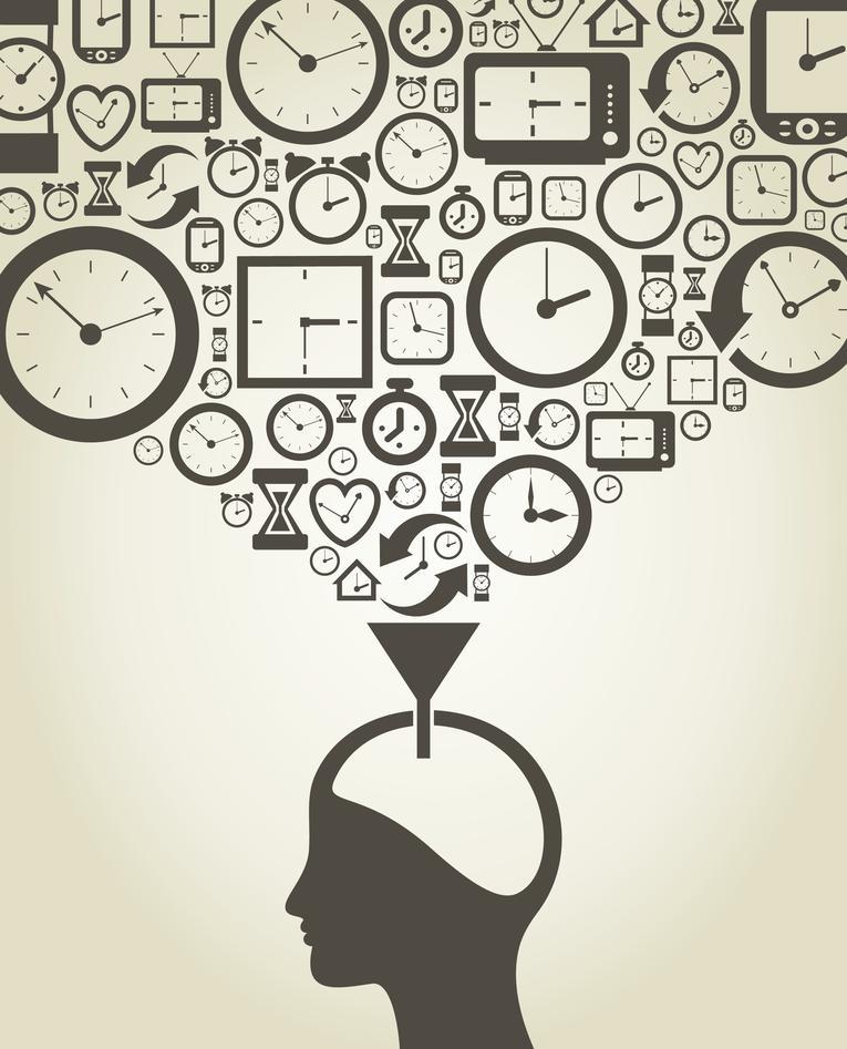 Bildet er en illustrasjon av et hode som fylles av klokker