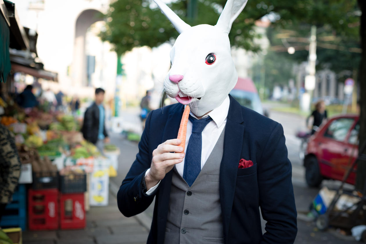 Rabbit mask man with carrot in the city, stock photo