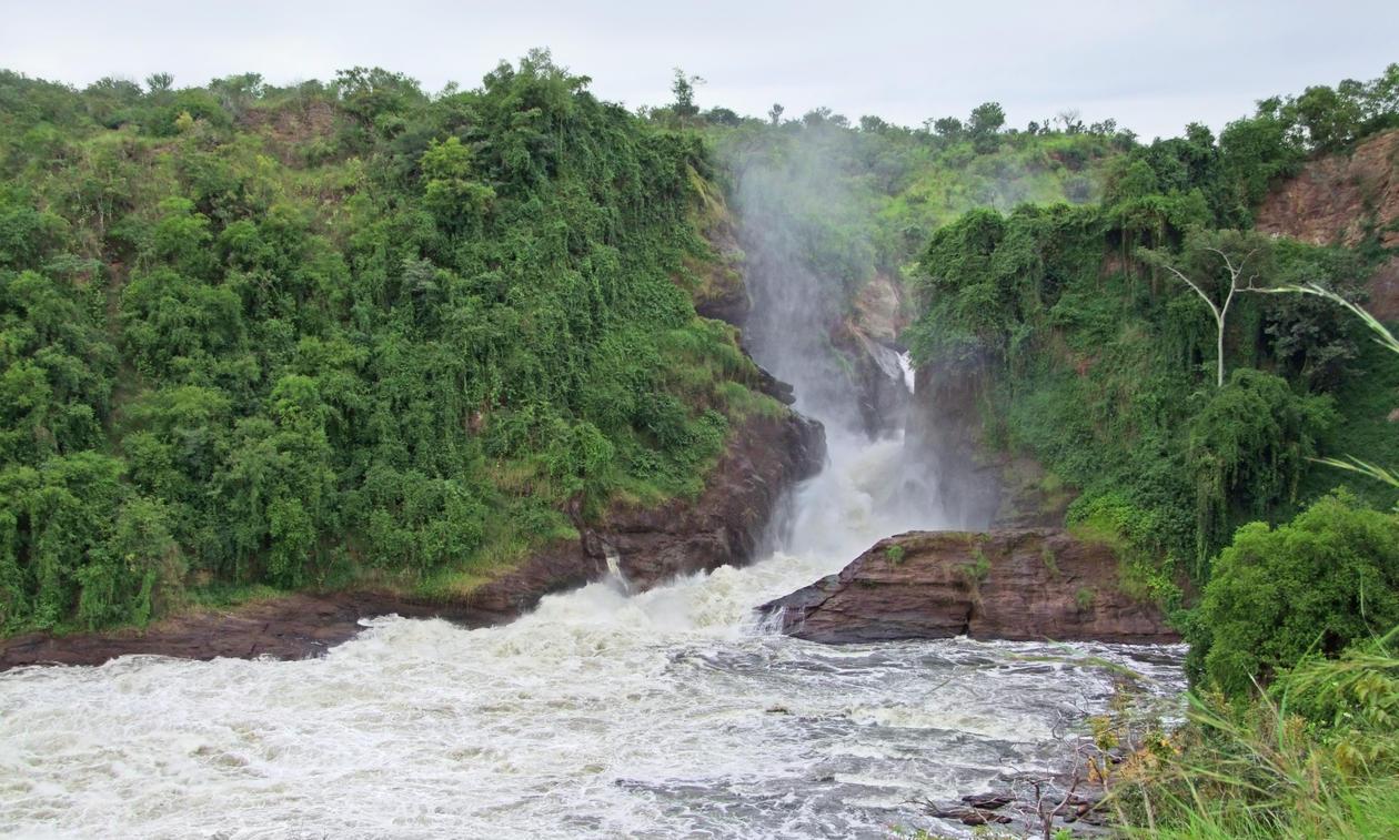 Kabarega Falls i Uganda, brukt ifm sak om Nile Basin Research Programme og vannforskning ved Universitetet i Bergen.
