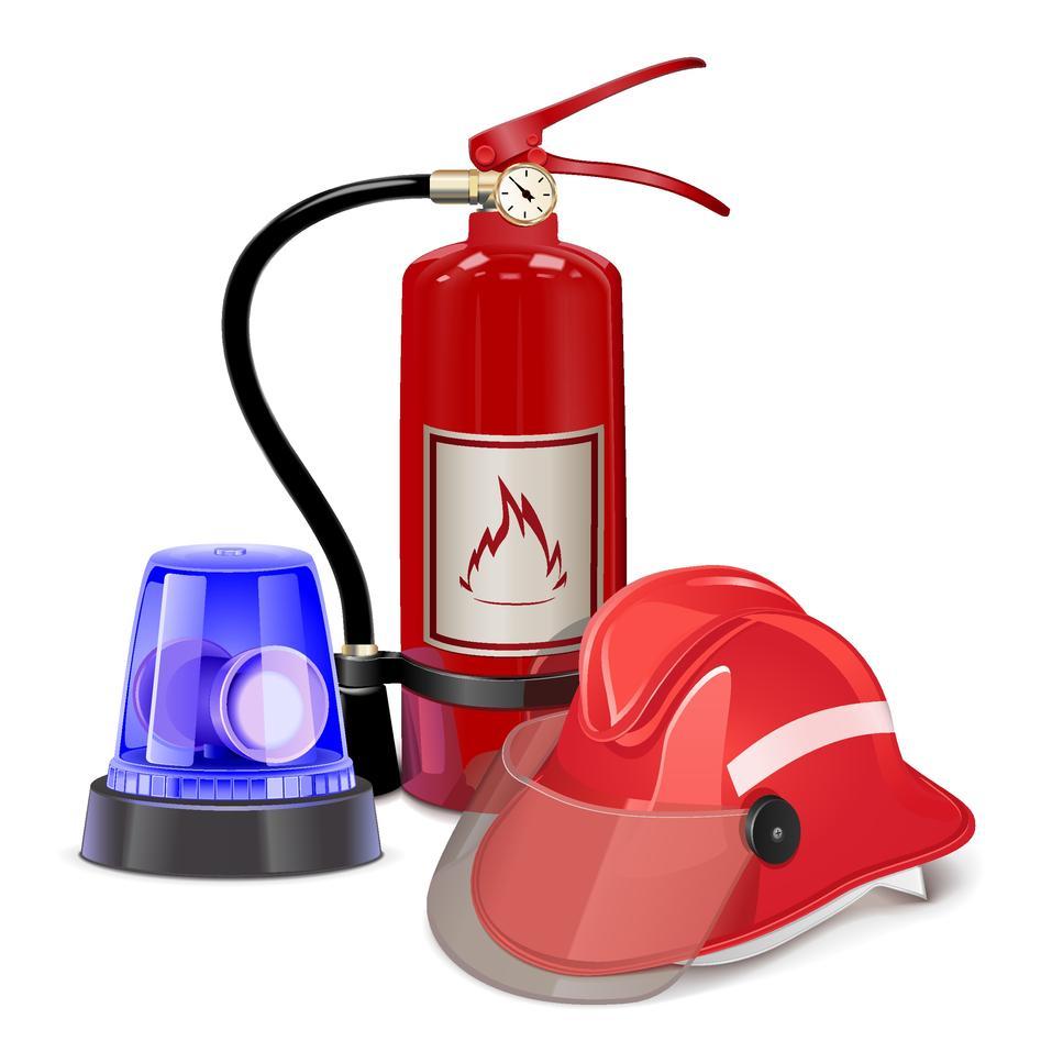 Bildet viser en brannslukningsapparat og en vernehjelm