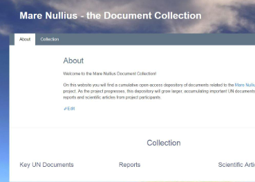 Screenshot from the Mare Nullius - Document Collection website