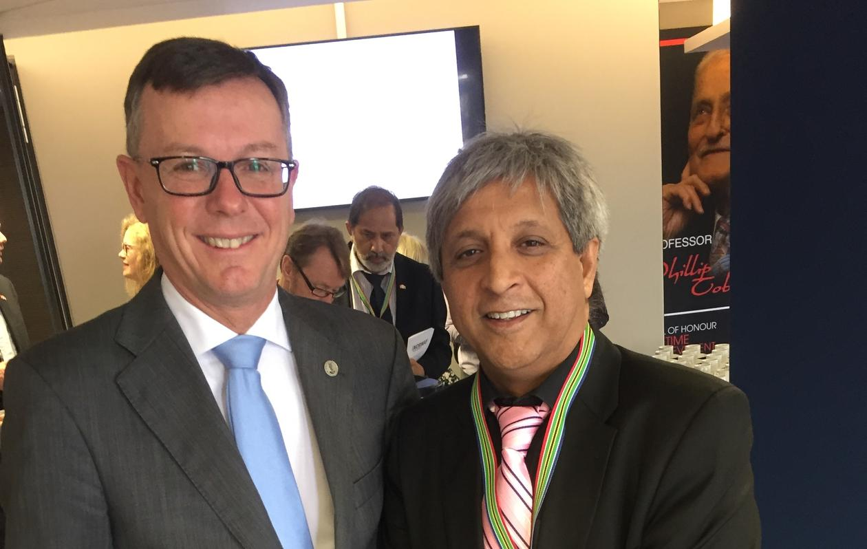 Rector Dag Rune Olsen from the University of Bergen and Vice-Chancellor and Principal Adam Habib from the University of the Witwatersrand in Pretoria, South Africa on 31 October 2018.