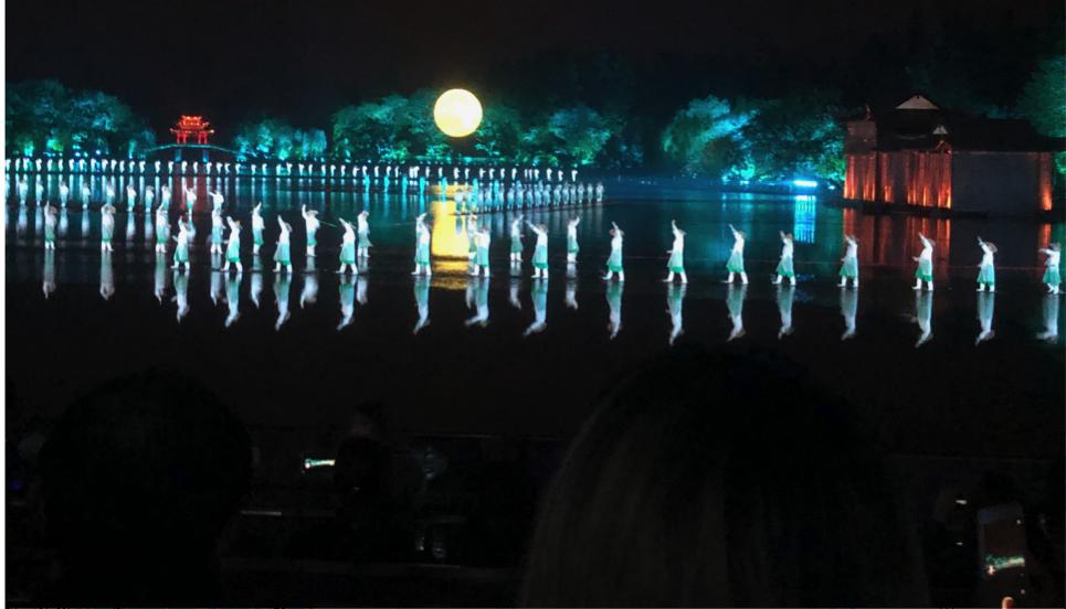 Dance performance on Westside Lake, Hangzhou.