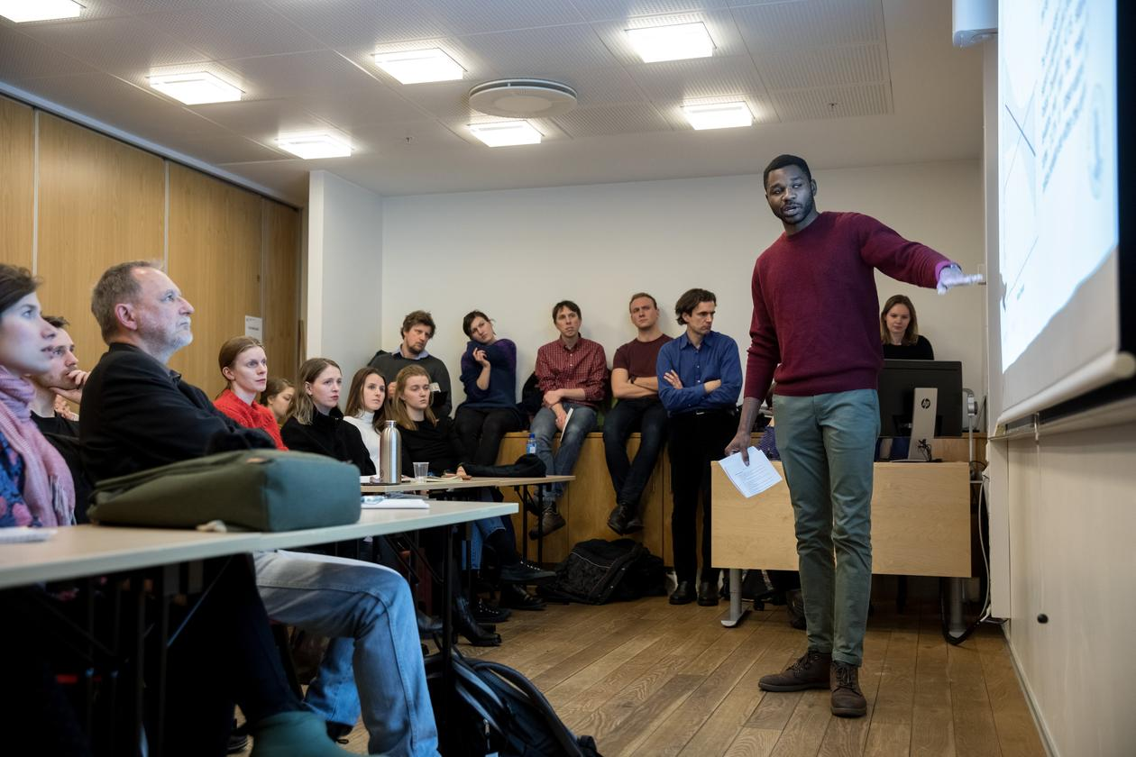 "Researcher Charles Ogunbode from the University of Bergen speaks at the workshop ""Public perceptions of climate change"" on Wednesday 6 February 2019, a pre-conference event to the 2019 SDG Conference Bergen."