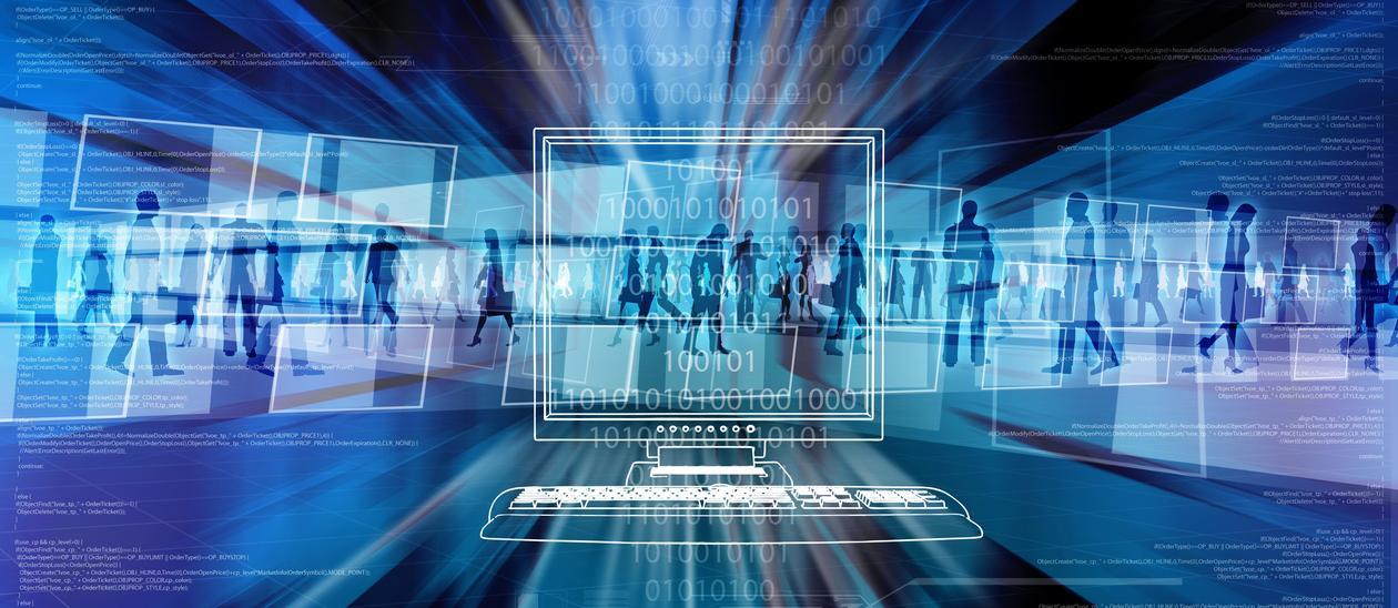 algoritmer, skygger av folk og en datamaskin på blå bakgrunn.