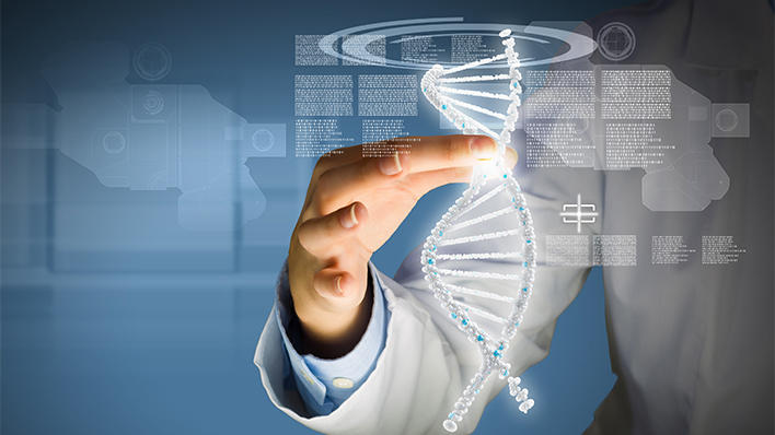 Illustration photo: Researcher holding string of DNA