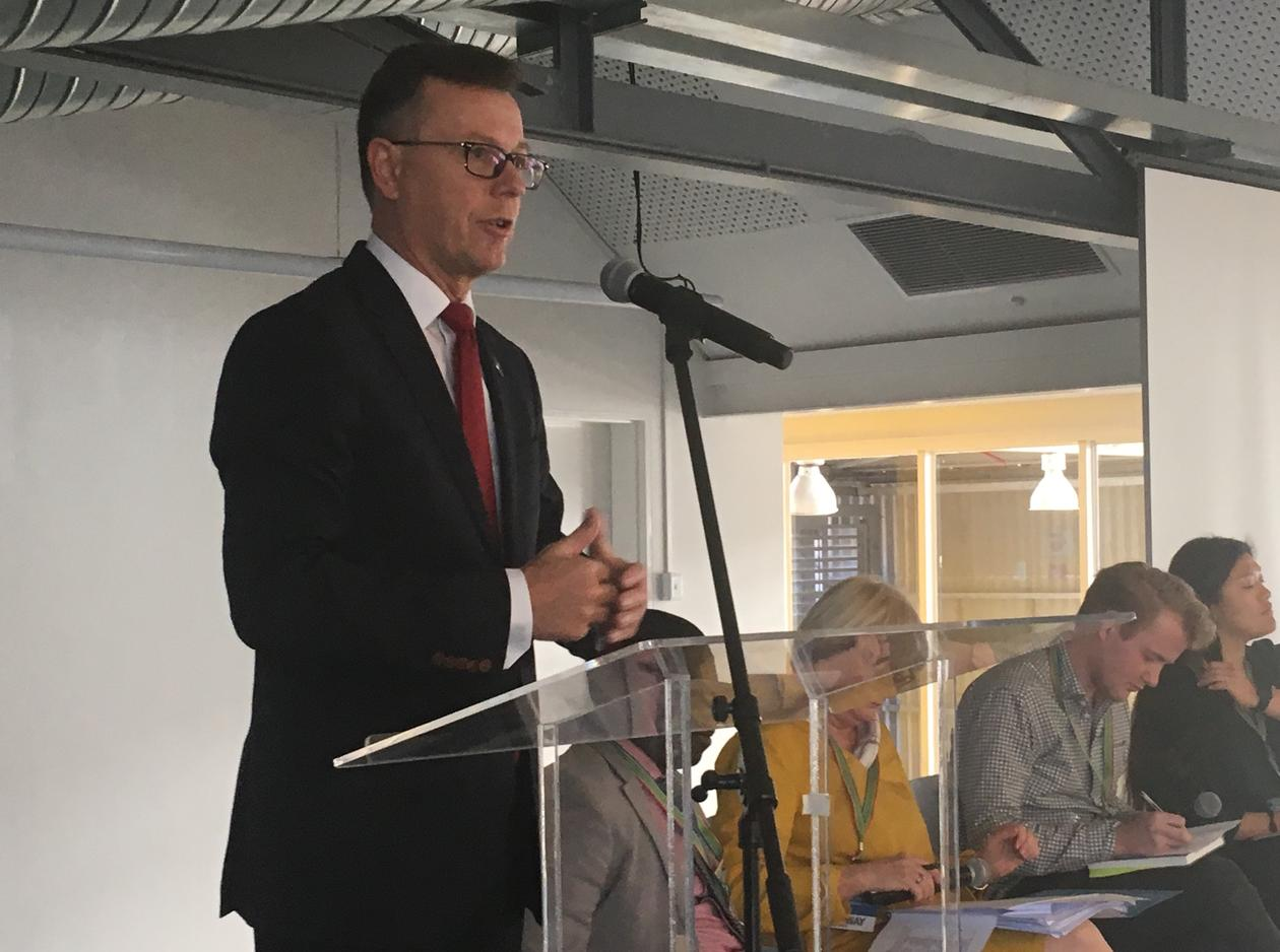 Rector Dag Rune Olsen from the University of Bergen debating education and the SDGs in the closing session of the official Norway delegation visit in Cape Town, South Africa on 2 November 2018.