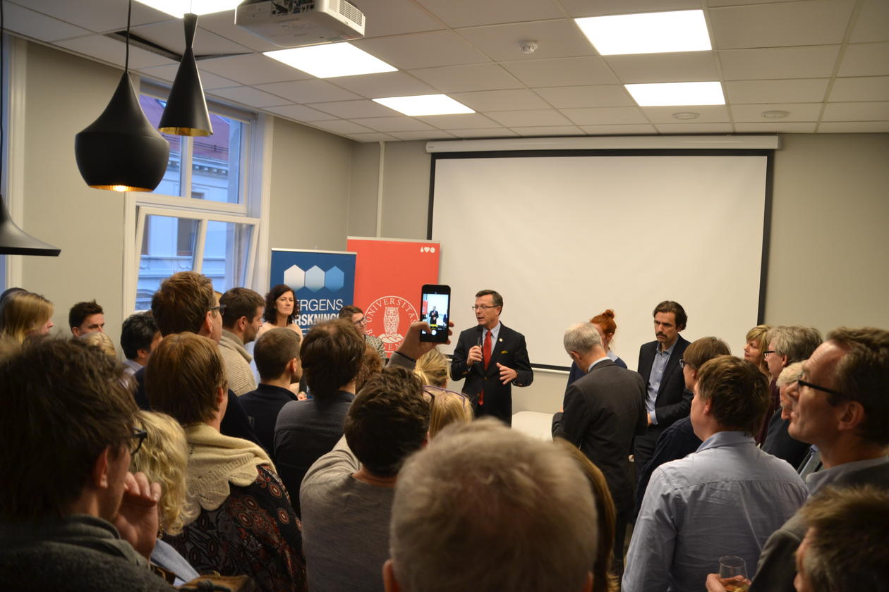Rector speaking at the opening of the Citizen Lab