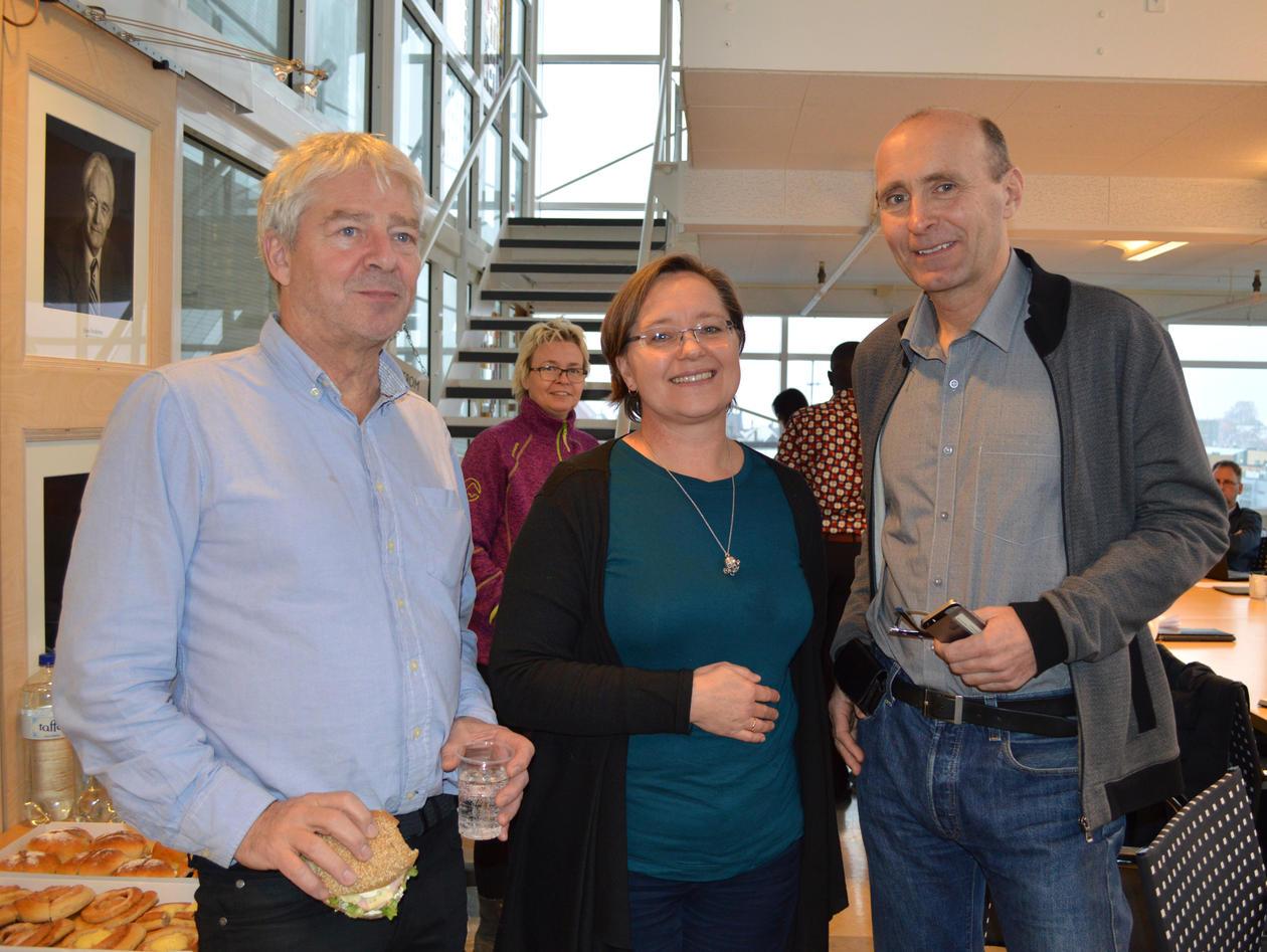 Jan Eriksen, koordinator av Norads program 'Fisk for utvikling' saman med Peter Andersen og Ragnhild Overå.