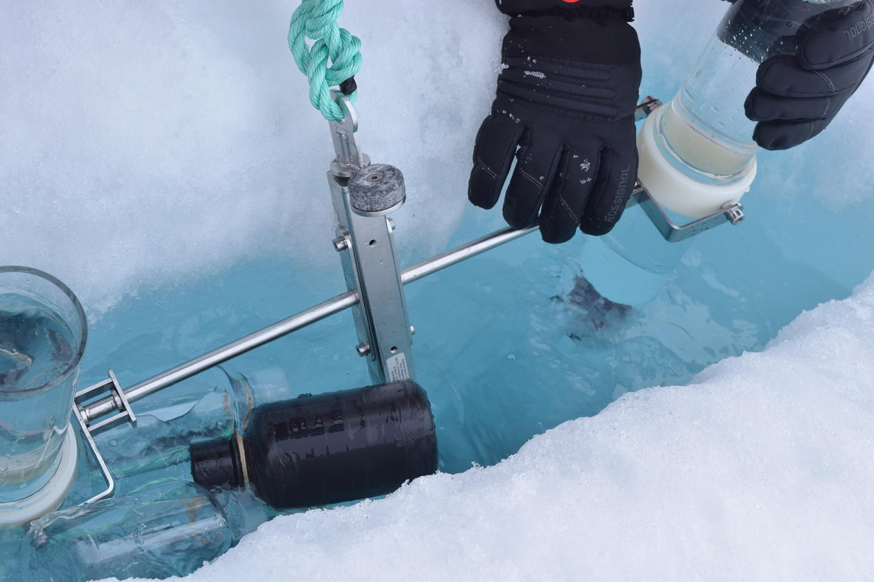 Taking samples from sea-ice