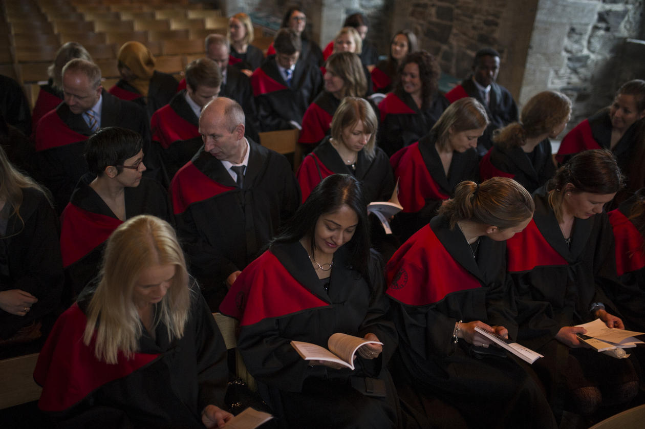Recently conferred doctors at the University of Bergen's doctor promotion in January 2014 at Håkonshallen in Bergen.