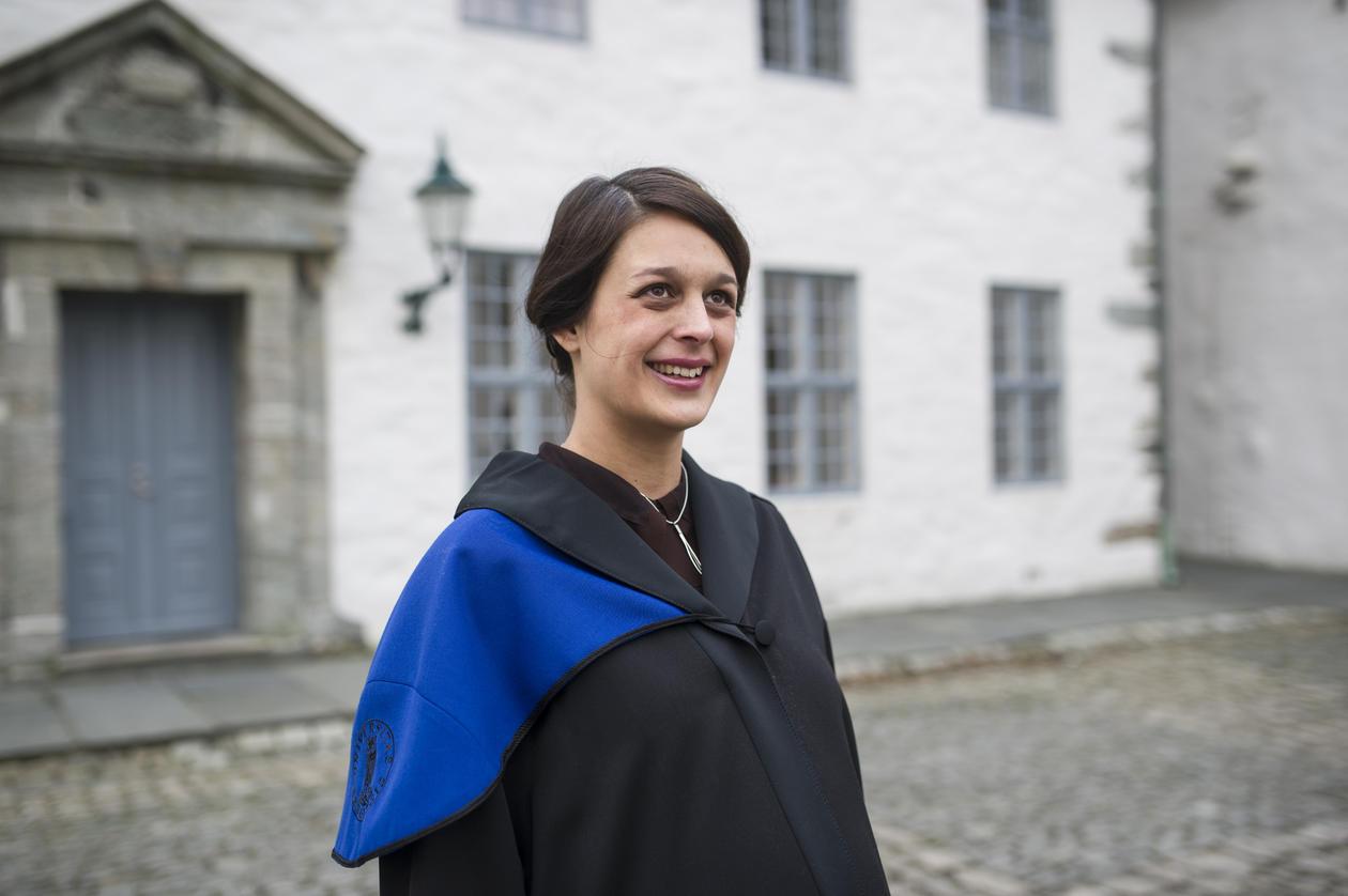 Recent PhD graduate from the University of Bergen, Ingrid Birce Müftüoglu, outside Håkonshallen, before her speech at the so-called doctor promotion at Håkonshallen on 24 January 2014.