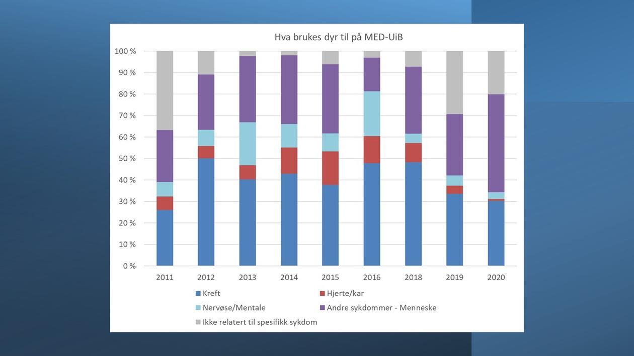 Dyr rapportert 2011-2020 etter Formål