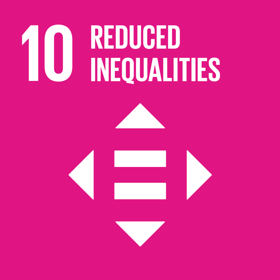 Logo for Sustainable Development Goal 10 (SDG10, Reduced Inequalities