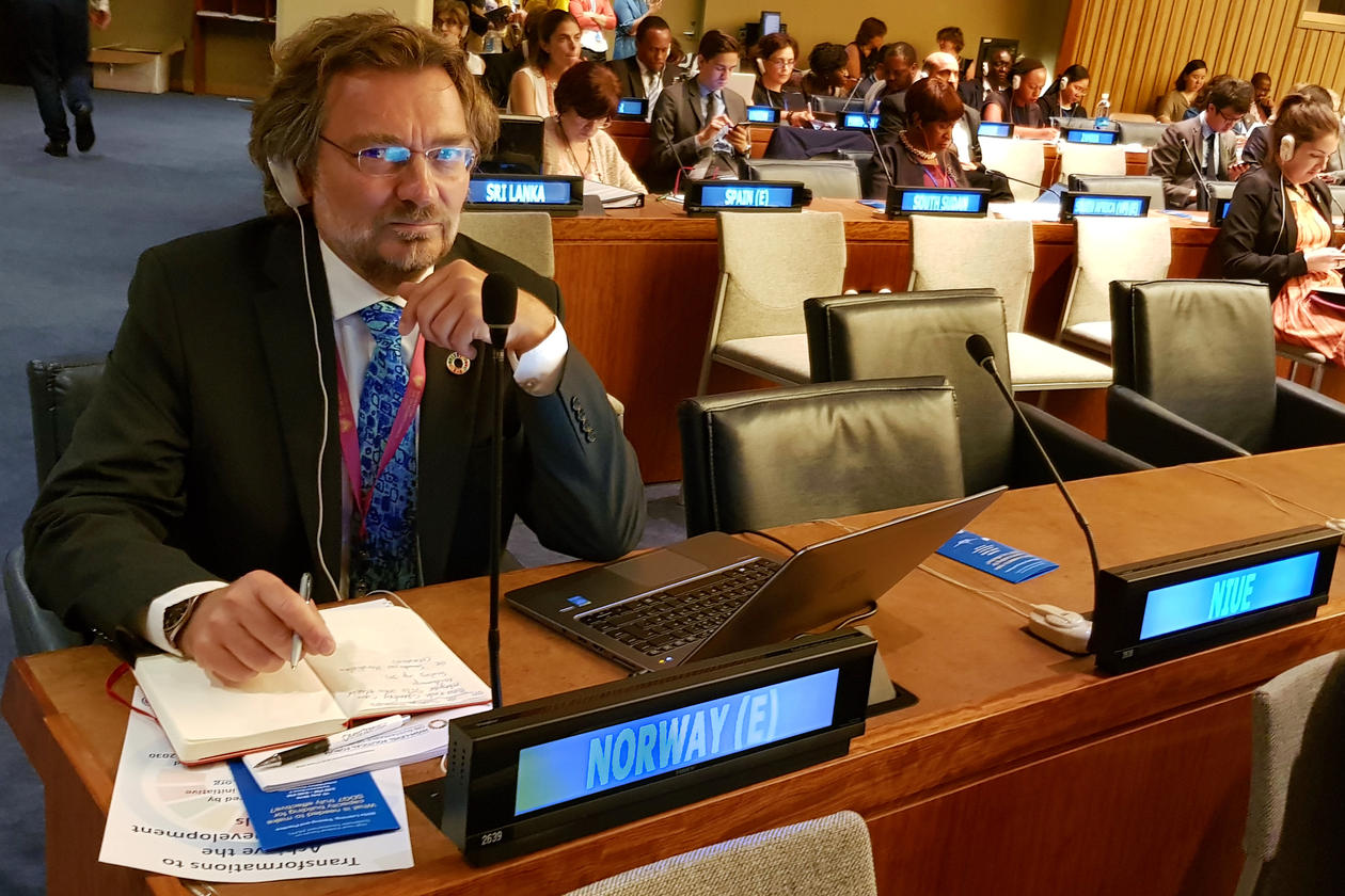 Professor Edvard Hviding from the University of Bergen at the High-level Political Forum at the United Nations in July 2018, as part of the official Norwegian delegation.