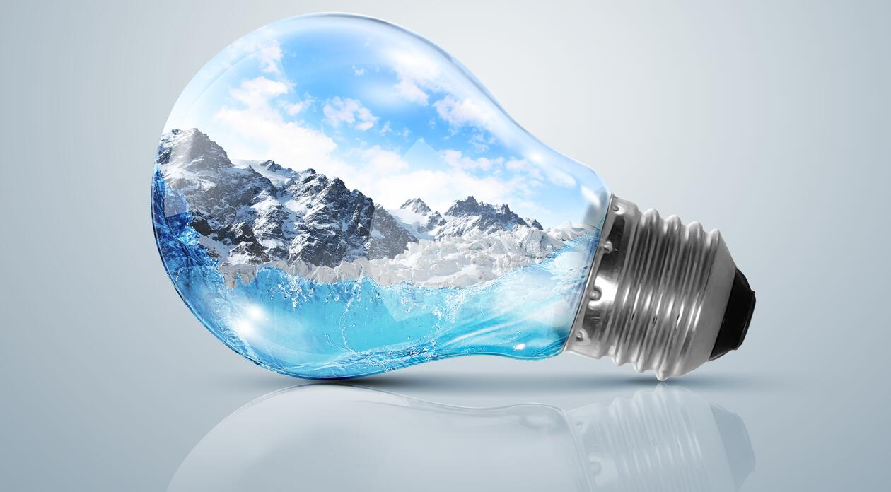 Light bulb with landscape inside