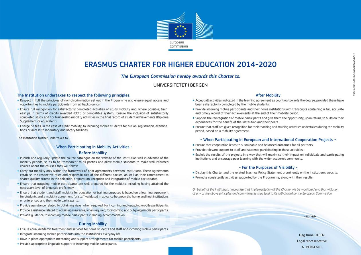 Erasmus Charter for higher education 2014-2020