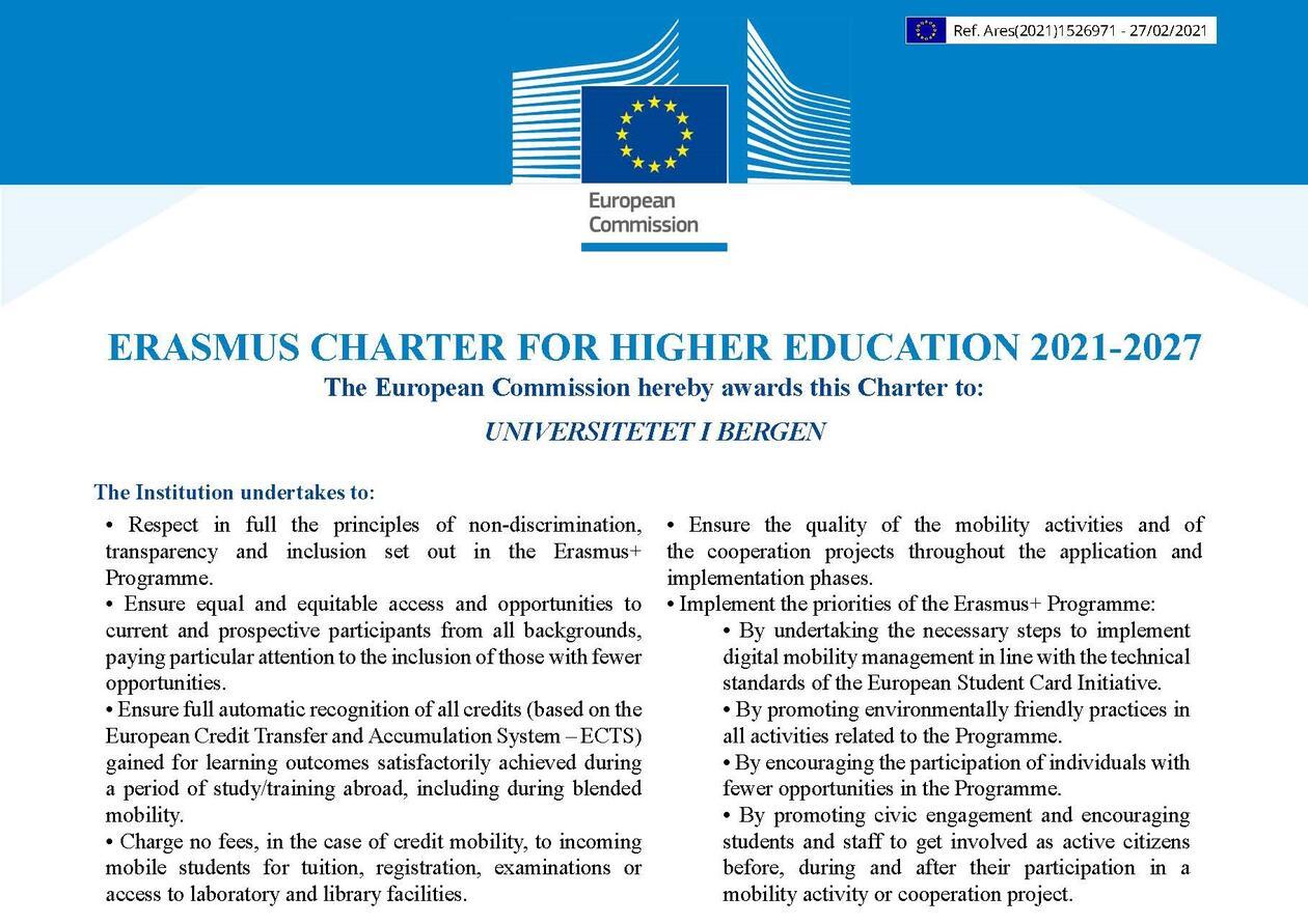 Erasmus Charter for higher education 2021-2027