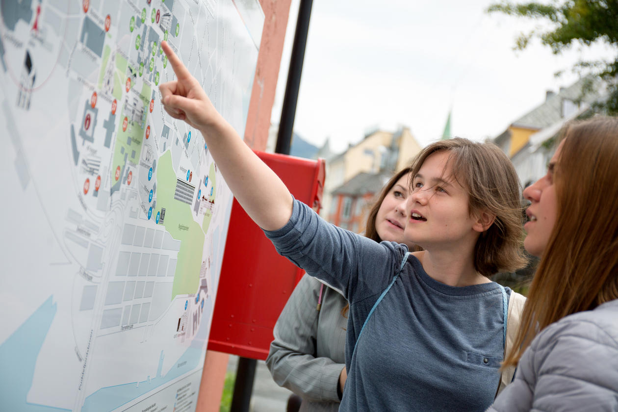 Students looking at a campus map, pointing