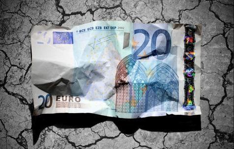 En krøllet euroseddel