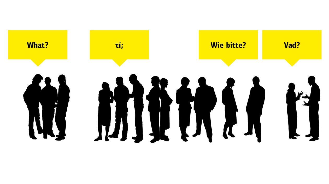 Illustrasjon av folk som snakker sammen på ulike språk, brukt som del av en sak om hvordan kommunikasjon er et problem i EU.