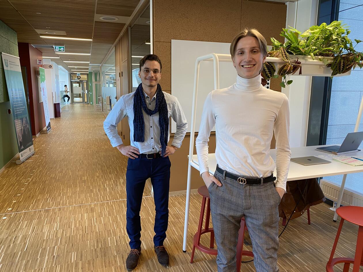 Farmasistudentene Haakon Rosland og Torbjørn Nygård