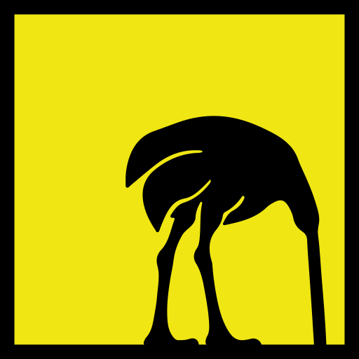 An illustration of an ostrich with its head in the sand