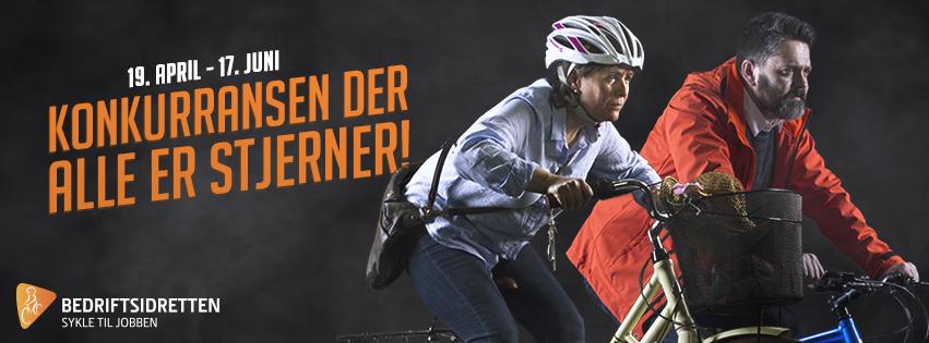 mann og kvinne på sykkel og teksten Konkurransen der alle er stjerner