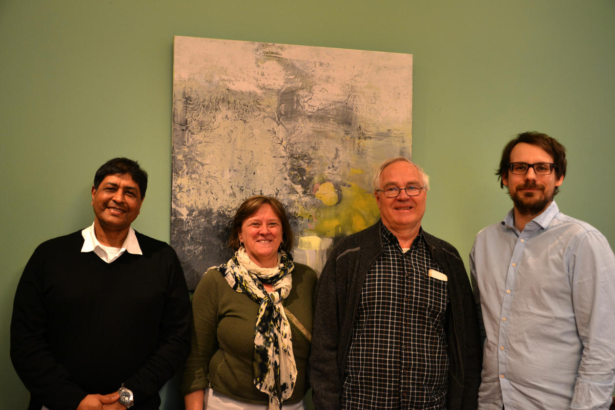 Initiativtakarane til forskargruppesamarbeidet, frå venstre Ishtiaq Jamil (Admorg), Lise Rakner (Sampol), Steinar Askvik (Admorg) og Vegard Vibe (Sampol).