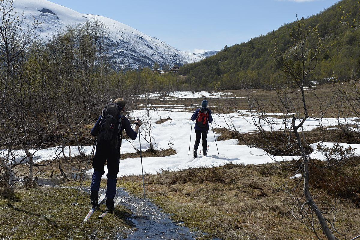 Studentar som går på ski i vått terreng.