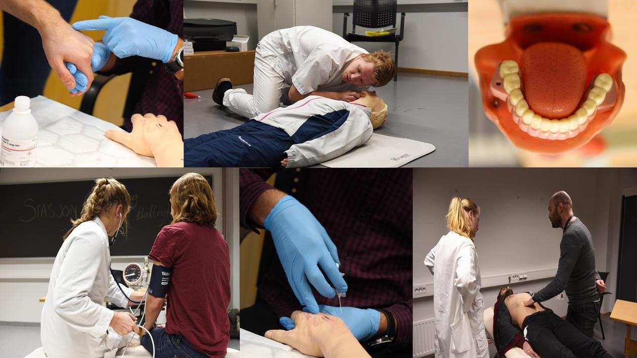 Forsidebilde til Ferdighetssenteret samling av ulike bilder fra senteret og OSKE eksamen