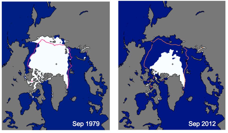 Illustrasjon som viser hvordan isen i arktis har minket fra 2006 til 2012